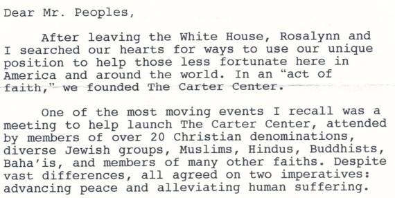 Letter From President Carter