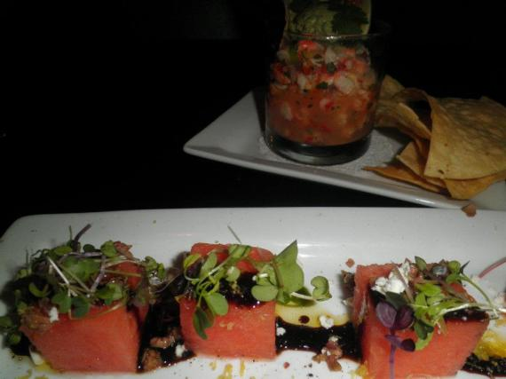 May 16 2012 Destihl Shrimp Ceviche and Watermelon & Feta Champaign, IL