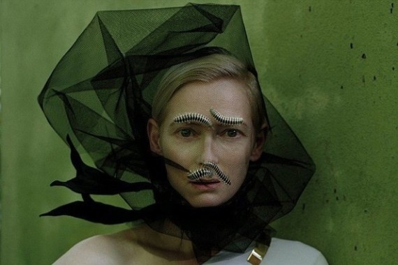 tilda-swinton-posing-for-w-magazine-with-centipede-eyebrows-and-mustaches