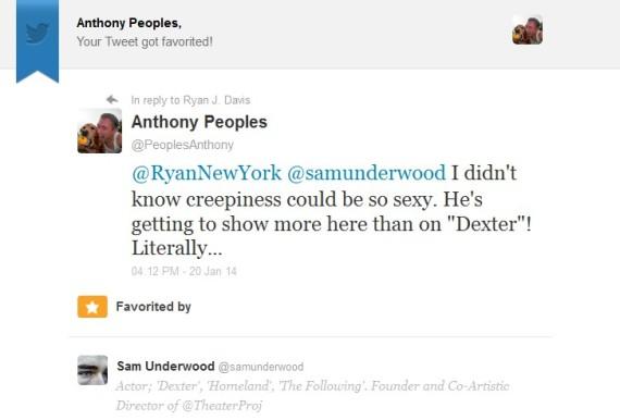 Sam Underwood Tweet