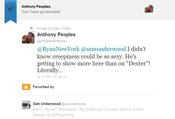 Sam Underwood Tweet