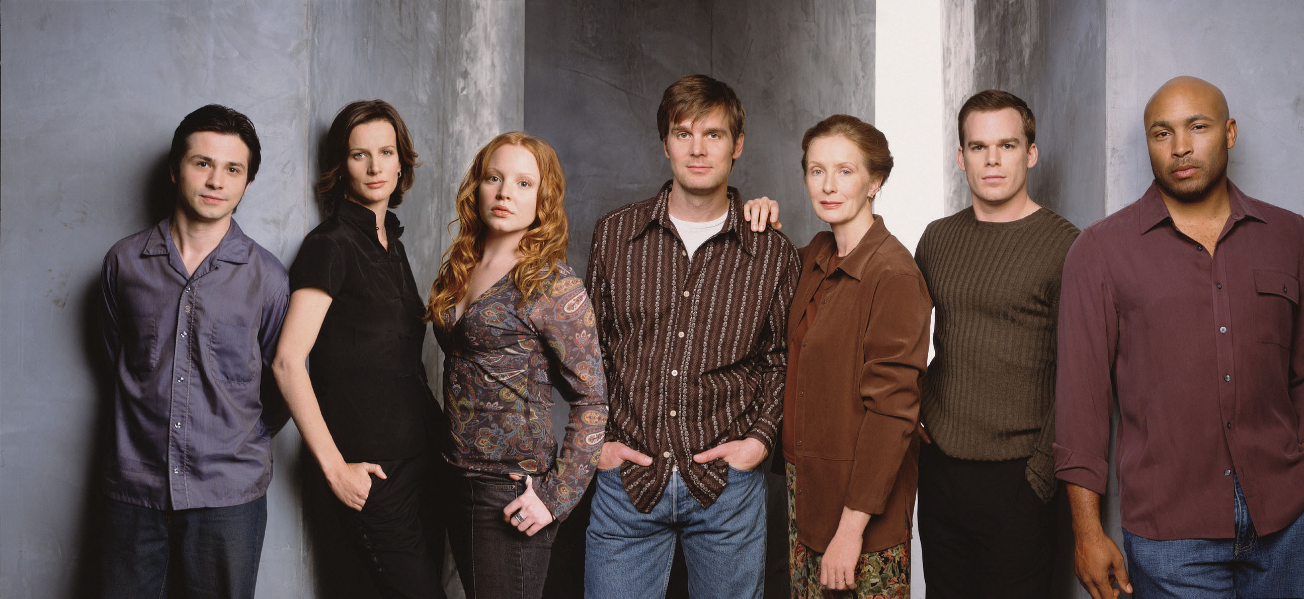 Six Feet Under starring Rachel Griffiths, Peter Krause, Michael C.Hall, Frances Conroy, Lauren Ambrose, Freddy Rodriguez, Mathew St. Patrick, Justina Machado, Jeremy Sisto and James Cromwell