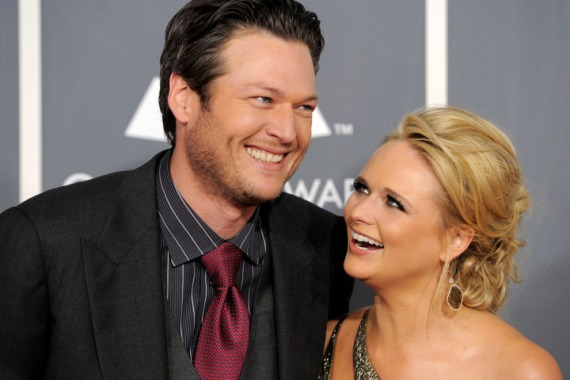 FILE - In this Feb. 13, 2011 file photo, Blake Shelton, left, and Miranda Lambert arrive at the 53rd annual Grammy Awards in Los Angeles. Shelton and Lambert announced their divorce after four years of marriage.A statement from Sheltonís spokesman provided a statement from both of them on Monday, July 20, 2015. (AP Photo/Chris Pizzello, File)