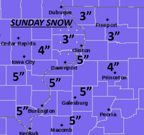 Sunday Snowfall Amounts