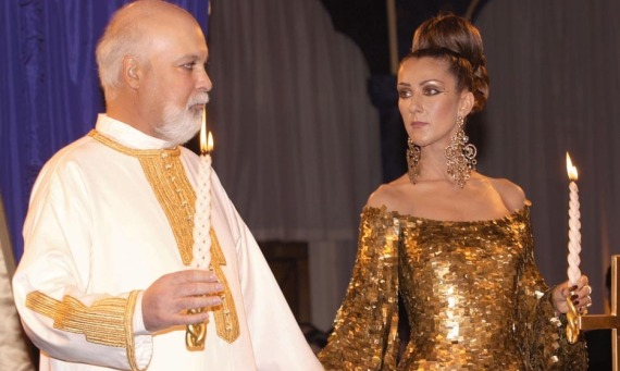 SINGER CELINE DION AND RENE ANGELIL RENEW WEDDING VOWS IN EASTERN ORTHODOX CEREMONY.